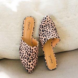 Shoes - Slip on cheetah leopard mules